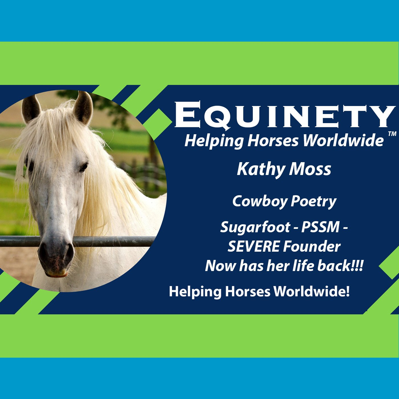 Kathy Moss - Cowboy Poetry - Severe Founder - PSSM - and now has her life back!