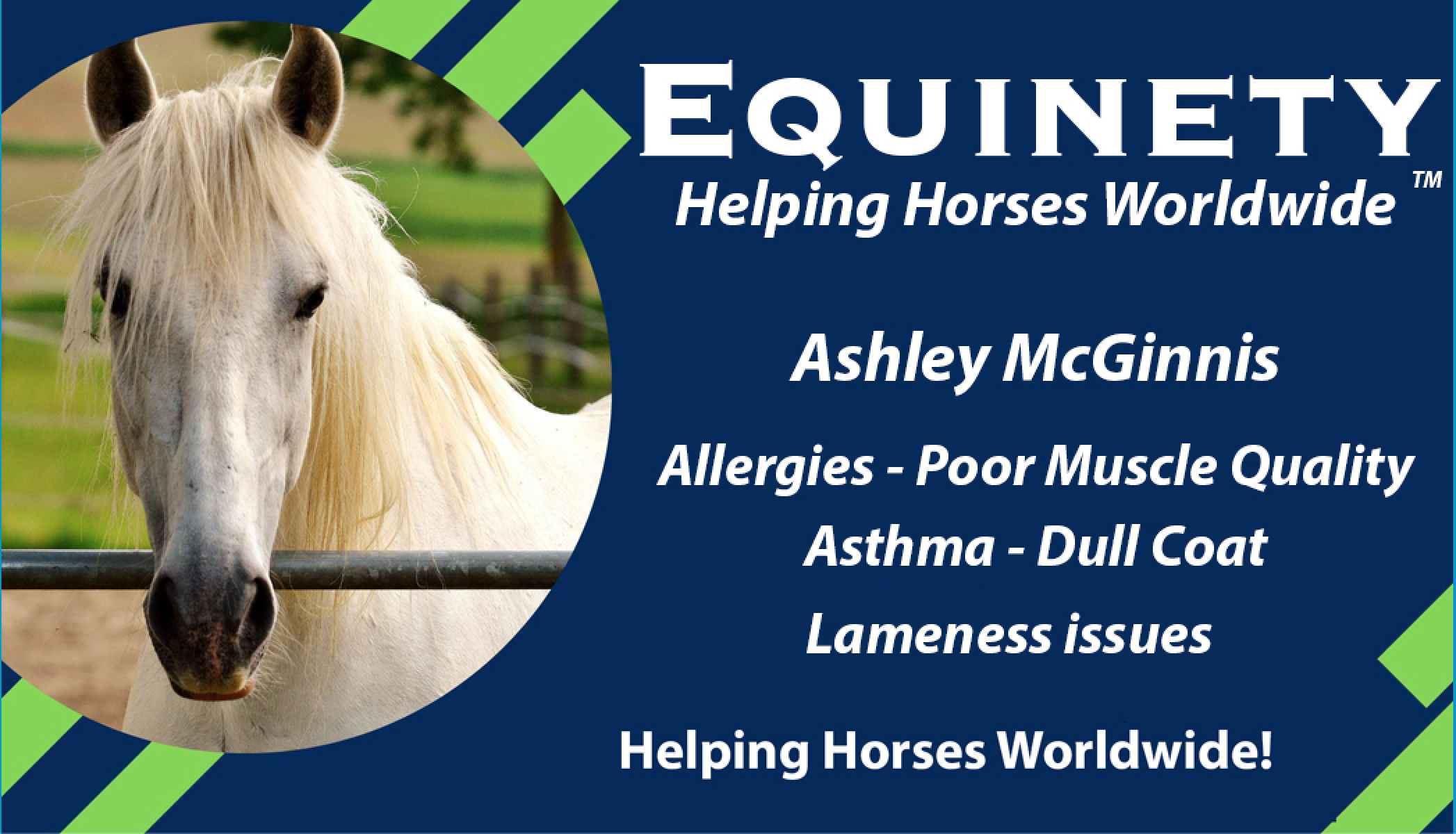 Ashley McGinnis – Major Allergies issues – Poor Muscle Quality - Asthma – Dull Coat – Lameness issues